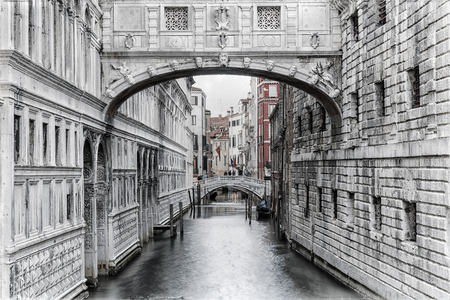Venice. Italy. Bridge of Sighs in Venice (imitation of an old photo)