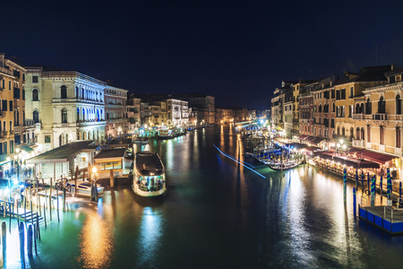 night view of the Grand Canal in Venice, Italy