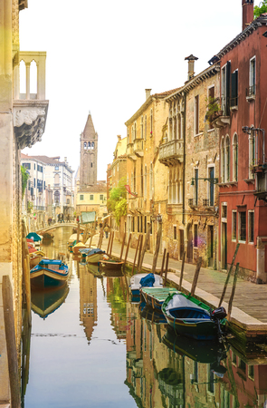 Italy. Venice. Colorful morning canals in Venice