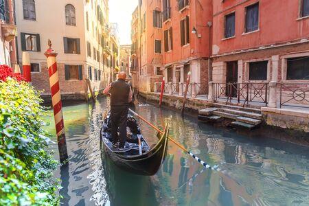 Venice, Italy. Scenic canal with gondola in Venice