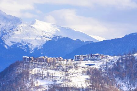 Beautiful winter mountain landscape. view of the village in Sochi Banque d'images - 137548050