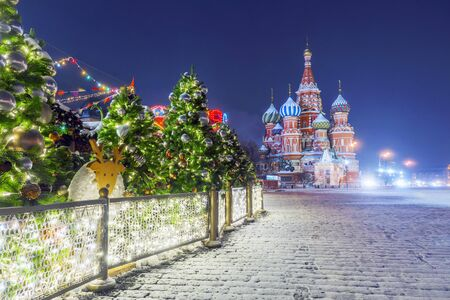 Christmas in Moscow. New Year's Decoration of the Red Square in Moscow Banque d'images - 137548056