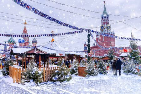 Christmas Fair at the Red Square in Moscow 스톡 콘텐츠