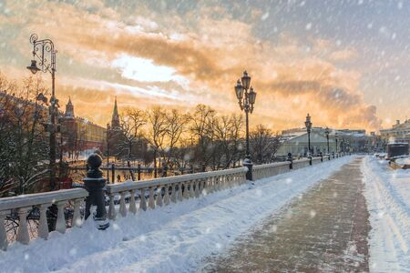 Winter view Manezhnaya square in Moscow, Russia