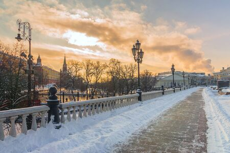 Winter view Manezhnaya square in Moscow, Russia Banque d'images - 137548068
