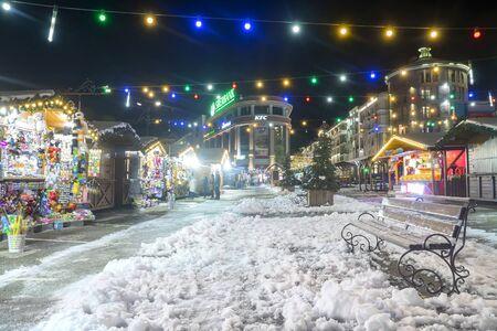 SOCHI, RUSSIA - DECEMBER 5,2019: Christmas fair at Gorky Gorod, Sochi, Krasnaya Polyana Banque d'images - 137512738