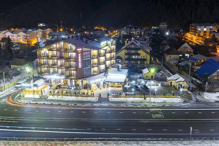 SOCHI, RUSSIA - DECEMBER 5,2019: Panoramic winter view of the ski resort Gorky Gorod, Sochi, Krasnaya Polyana Banque d'images - 137512744