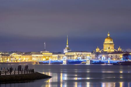 View of the Admiralty Embankment in St. Petersburg, Russia