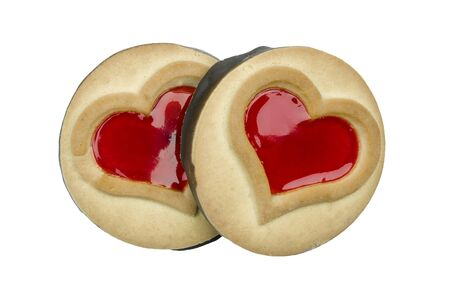 Heart shaped shortbread cookies. white background Banque d'images - 138472368