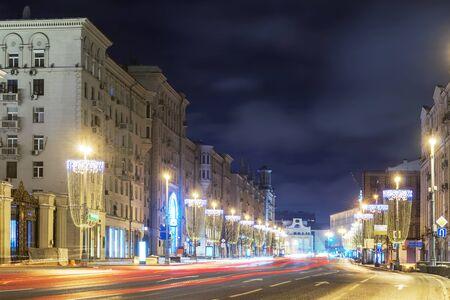 night view of Tverskaya street, Russia Banque d'images - 138472265