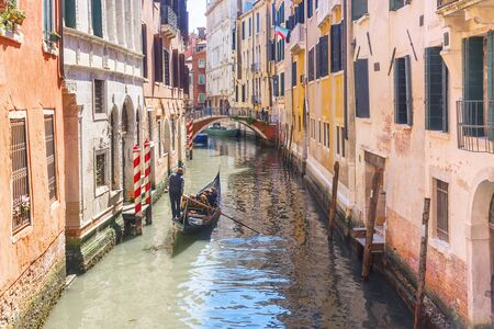 gondola on a picturesque canal in Venice, Italy