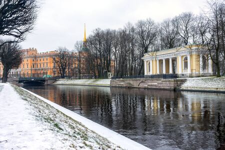 Moika River. View of the Mikhailovsky Castle in St. Petersburg
