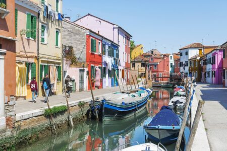 Picturesque streets of Burano Island in Venice