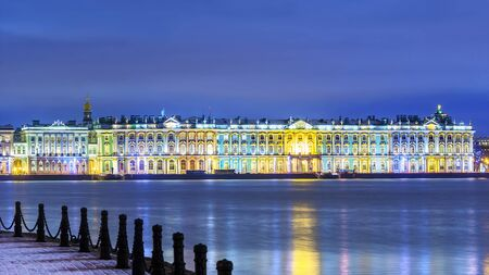 Night view of the Winter Palace in St. Petersburg. Russia
