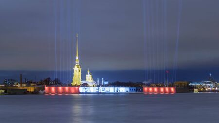Night view of the Peter and Paul Fortress in St. Petersburg