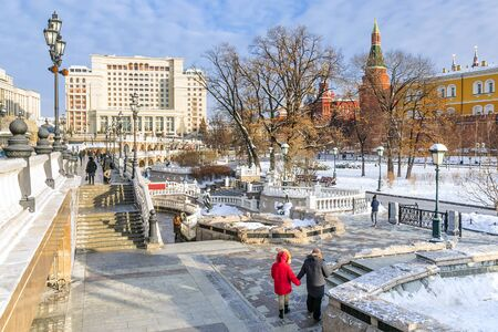 winter view of the Alexander park in Moscow, Russia