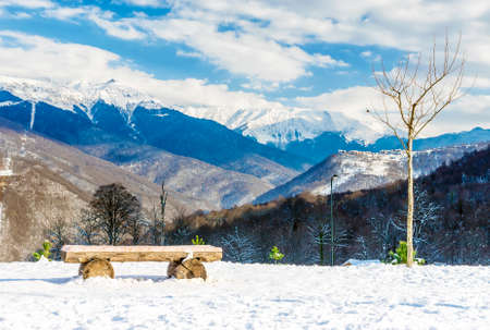 wooden bench on a background of snowy winter mountains 版權商用圖片