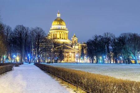 St. Isaac's Cathedral in St. Petersburg in the winter