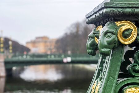 Detail of a bridge on the background of Mikhailovsky Castle in St. Petersburg, Russia 版權商用圖片