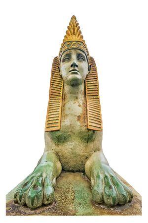 Sphinx on the Egyptian bridge in St. Petersburg. isolated sphinx bridge element 版權商用圖片