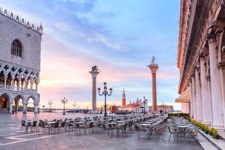Venice, Italy. Morning in Venice, San Marco Square. inscription in Italian: gondola service