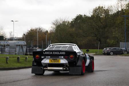 November 2017 - Birmingham, United Kingdom: Lancia Stratos sports car driving down a road at a National Exhibition Centre in Birmingham. Editorial