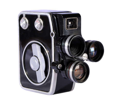 Old movie camera isolated on a white background