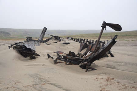 Remains of an old wooden ship on the sand