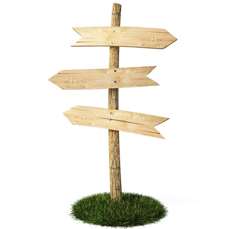 wood lawn: three empty arrow sign made out of wood on a patch of grass.  Stock Photo