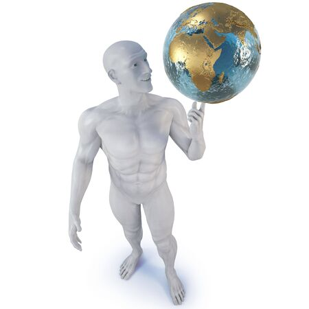 man holding the globe on his finger.  photo