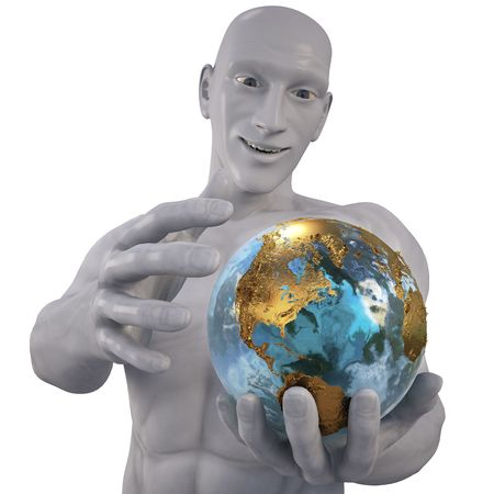 man holding a globe.  photo