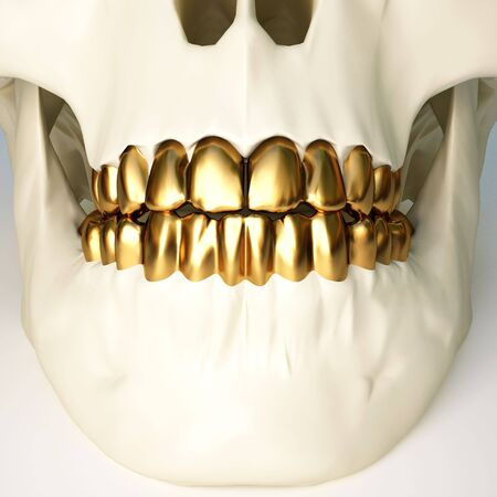 forehead: in the jaws of the skull gold teeth. 3d image.