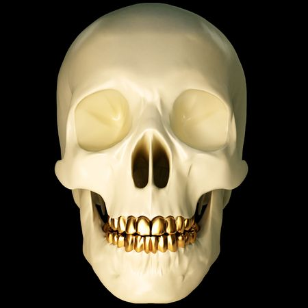 brainpan: in the jaws of the skull gold teeth. 3d image.