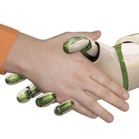 greeting people: Robot and the man shake hands. Isolated on white.