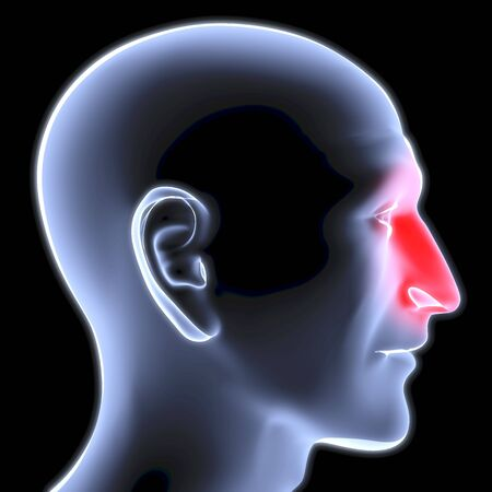 highlighted: head of a man under the X-rays. nose is highlighted in red.