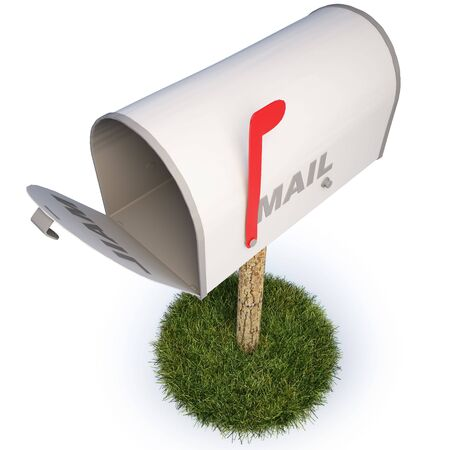 retrieve: mailbox with a raised flag. Stock Photo