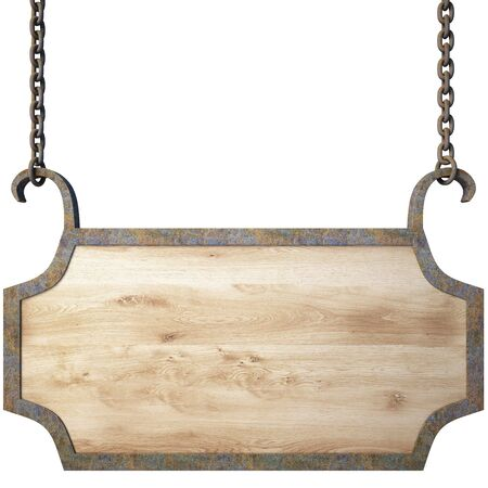 the plaque: se�al de madera en las cadenas.