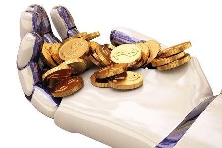 robot holding a coin.  photo