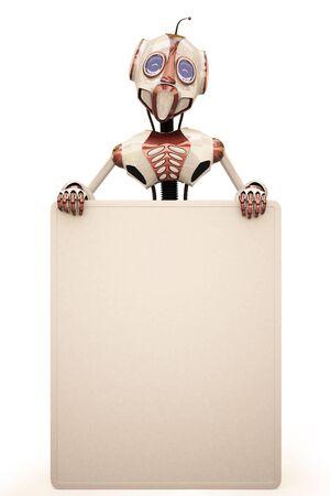 robot holding a billboard. Stock Photo - 6681877