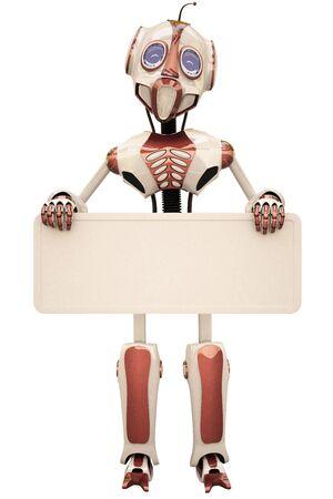robot holding a billboard.  photo