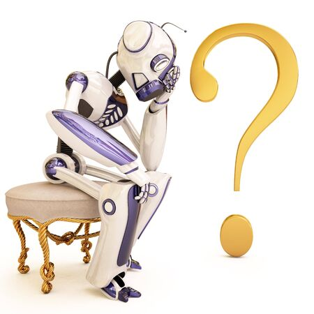 suspense: pensive robot sitting on a chair.