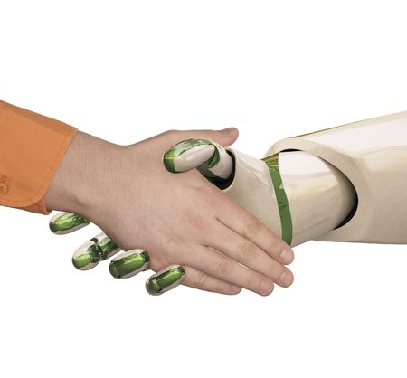 Robot and the man shake hands. Isolated on white. photo