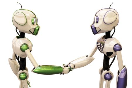two robots shake hands.  photo