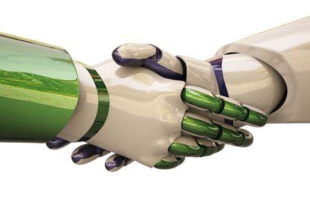 Robots shake hands. Stock Photo - 6682133