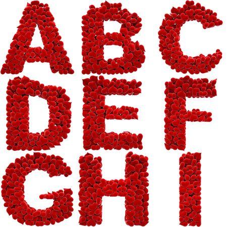 calamita: un sacco di cuori di velluto in forma di lettere.  Archivio Fotografico