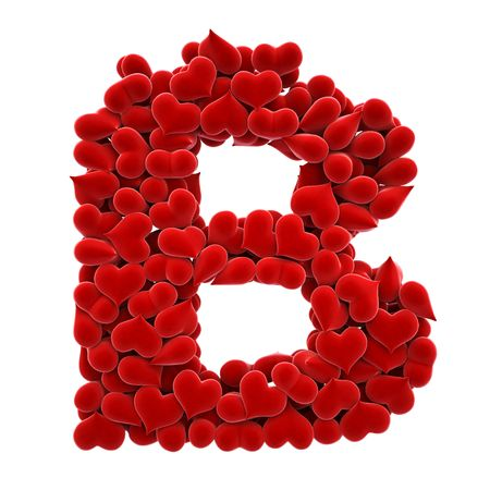 a lot of hearts of velvet in the form of letters. Stock Photo - 6682274