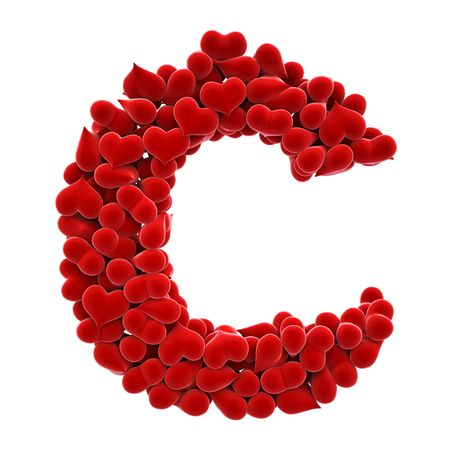 original idea: a lot of hearts of velvet in the form of letters. Stock Photo