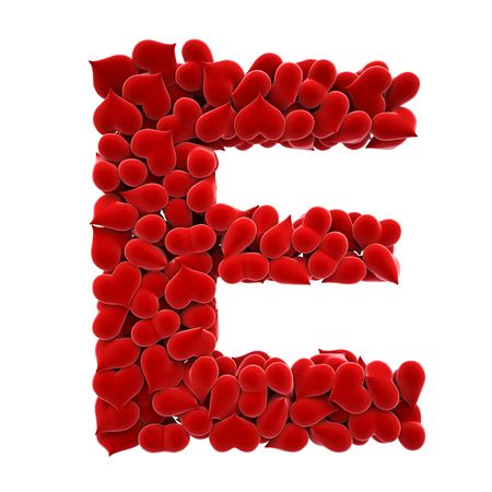 letter e: a lot of hearts of velvet in the form of letters. Stock Photo