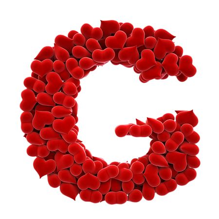 a lot of hearts of velvet in the form of letters. Stock Photo - 6681588