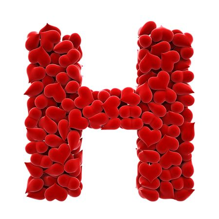 velvet fabric: a lot of hearts of velvet in the form of letters. Stock Photo
